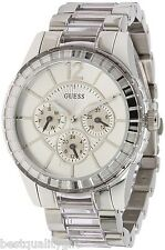 NEW GUESS SILVER TONE STAINLESS STEEL+CLEAR ACRYLIC WATCH+CHRONO DIAL-U15085L1