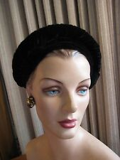 CHIC 30'S BLACK VELVET TURBAN STYLE HAT W/ROLLED TOP