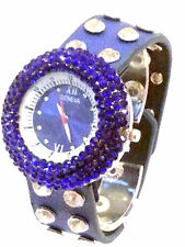 ROYAL BLUE LARGE CRYSTAL STUD BAND FAUX LEATHER SNAP CLOSURE WATCH SILVER