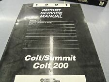 1991 DODGE COLT COLT 200 EAGLE SUMMIT FACTORY SERVICE MANUALS SHOP REPAIR