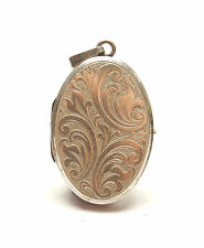 Modern 925 Silver HEAVY FLORAL PATTERNED OVAL PHOTO PICTURE LOCKET 13.4g
