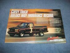 """1990 Chevy Pickup Truck Vintage Ad """"Breaks Indy Endurance Record"""""""