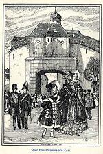 H. Steiner Prag Vor dem Grimmschen Tore Leipzig  Kunstdruck von 1909