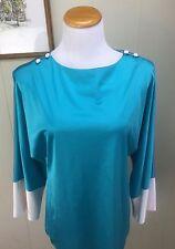 Vintage Vanity Fair Night Lounge Shirt Blue Teal White Groovy Nylon Mod Retro Sm