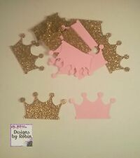 100 Gold Glitter and Pink Princess Crown Confetti  - Tiara Gold and Pink Party
