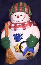 "NEW 12"" Large HollyTree CHRISTMAS SNOWMAN COOKIE OR CANDY JAR Handpainted"