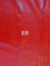 """ALLIGATOR EMBOSSED FAUX LEATHER VINYL FABRIC - Fire Red - 56""""/58"""" WIDTH CROC"""