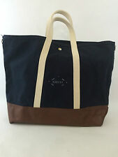 NWOT STEELE CANVAS BASKET CORP. LEATHER TOTE BAG $148 IN NAVY BLUE