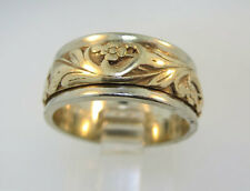 14k White Gold Art Carved Band with Yellow Gold Filigree Accents. Size 6 ½*