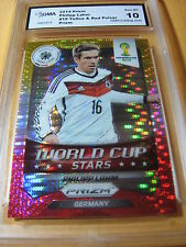 PHILIPP LAHM GERMANY 2014 PRIZM FIFA WORLD CUP YELLOW RED PULSAR PRIZM GRADED 10