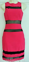 EX JANE NORMAN STUNNING PINK & BLACK MESH BODYCON PARTY DRESS 6 8 10 12 14 16