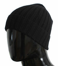 NWT $200 DOLCE & GABBANA Hat Black Cashmere Mens Beanie Winter Head One Size