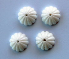 VINTAGE WHITE MILK GLASS ROUND FLUTED BEADS 18mm WESTERN GERMANY