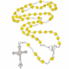 New dark yellow Catholic rosary beads necklace silver tone metal