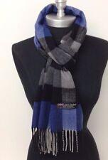 Men New 100% Cashmere Scarf Blue/Black Plaid Check Soft Wool Wrap Unisex#C5 Warm