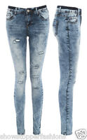 NEW ACID WASH RIPPED SOFT Ladies DENIM SKINNY JEANS Womens Size 6 8 10 12 14