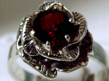 1.50ct natural red garnet flower antique 925 sterling silver ring size 5 USA