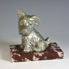 Antique French Presse Papier, Westie on Rose Colored Marble, Paperweight