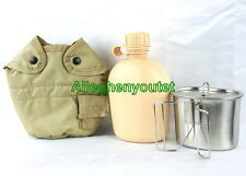 USGI Military SET 1 QT TAN PLASTIC CANTEEN + TAN COVER + STAINLESS CUP + LID NEW