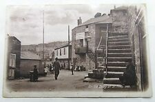 ON THE QUAY AT ST IVES ANTIQUE VINTAGE REAL PHOTO POSTCARD CORNWALL 1912 CORNISH