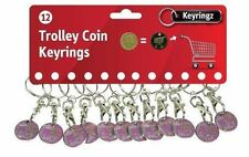 12 Pink Born to Shop Shopping Trolley Coin Token Keyrings - Free 1st Class Post