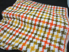 vintage 70s lighweight wool blend large houndstooth fall colors fabric 1.5 YD