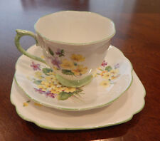 """ROYAL ALBERT """"PRIMULETTE"""" PATTERN TRIO CUP, SAUCER, SQUARE PLATE MADE IN ENGLAND"""