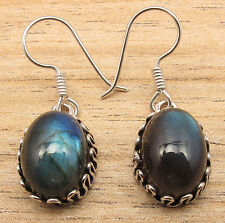 Real LABRADORITE Gems VINTAGE STYLE Earrings ! Silver Plated OXIDIZED Jewelry
