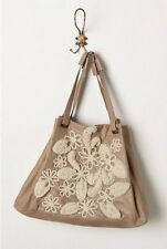Rare ANTHROPOLOGIE EMBROIDERED Stitched Bellis TOTE LEATHER BAG Taupe Beige Nude