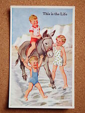 R&L Postcard: Valentine's Donkey Series, Rowles, No.1814, 1950s Children