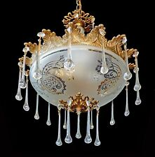 Vintage French Art Deco Etched Glass Crystal Teardrop Gold Chandelier