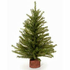 Indoor Artificial 12 Inch Mixed Pine Green Christmas Tree Wooden Base Unlit