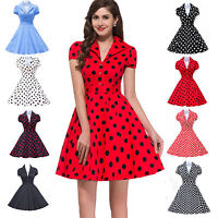 RED BLUE BLACK+ POLKA DOTS 1950'S VINTAGE RETRO SWING PINUP TEA PARTY PROM DRESS