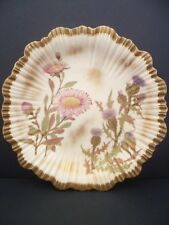 ROYAL WORCESTER BLUSH IVORY GROUND EMBOSSED SHALLOW DISH  DATED 1887