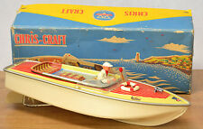 #Antique Tin Toy# Boxed Arnold Speed Boat Ship Captain Germany Working Old