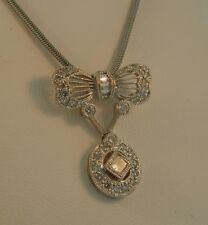 Mayer Platinum Antique Diamond Bow Pendant Necklace