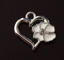 5x émail blanc argenté clair strass coeur fleur charme pendentif 20mm (TSC52)