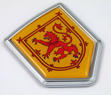 Scotland flag, Yellow with red lion Chrome Emblem with domed Car Decal Sticker