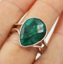 Unusual Solid 925 Sterling Silver & Emerald Ring jewellery,  Q1/2,  8.5