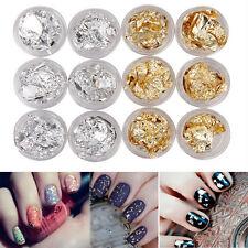 12 Stücke Nagel Kunst Gold Silver Flake Glitter Folie Acryl Aufkleber DIY KAKI