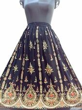 Bohemian Hippie Bollywood Indian Long Sequin Skirt Vintage Tribal Peasant Black
