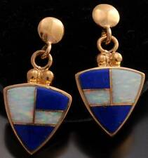 14K Gold Lapis Opal Arrowhead Earrings  - VN40C