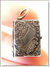 WONDERFUL ART NOUVEAU 1920's BOOK SHAPE ORNAMENTED PHOTO LOCKET PENDANT !!!