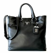 PRADA Soft Calf Leather Tote Shoulder Bag Shopper Black NWT