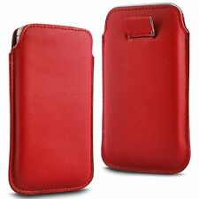 For Philips W7376 - Red PU Leather Pull Tab Case Cover Pouch