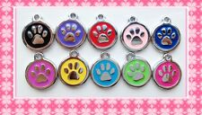 Pets Dogs Cats ID Round PAW TAG Free ENGRAVED Name Telephone Mobile Number 2cm