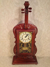 Wood Cello Novelty Clock with Strings Great Decorative Glass Not Running Korea