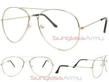 SILVER/CLEAR LENS Aviator Designer Frame mens womens classy retro eye glasses