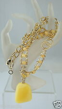 FASHION JEWELRY NECKLACE CHAIN GOLD TONE CC YELLOW RESIN PENDANT SIGNED