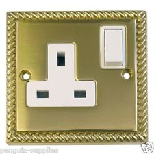 HAMILTON LITE-STAT GEORGIAN BRASS SINGLE 13A SWITCHED SOCKET XGSS1WH *CLEARANCE*